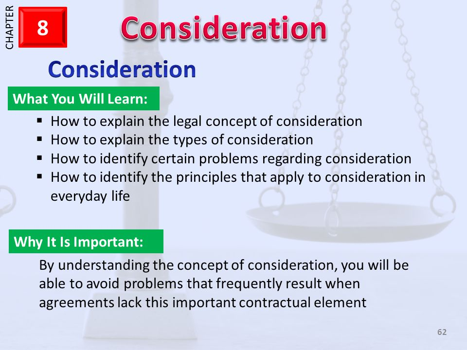 Consideration What You Will Learn: