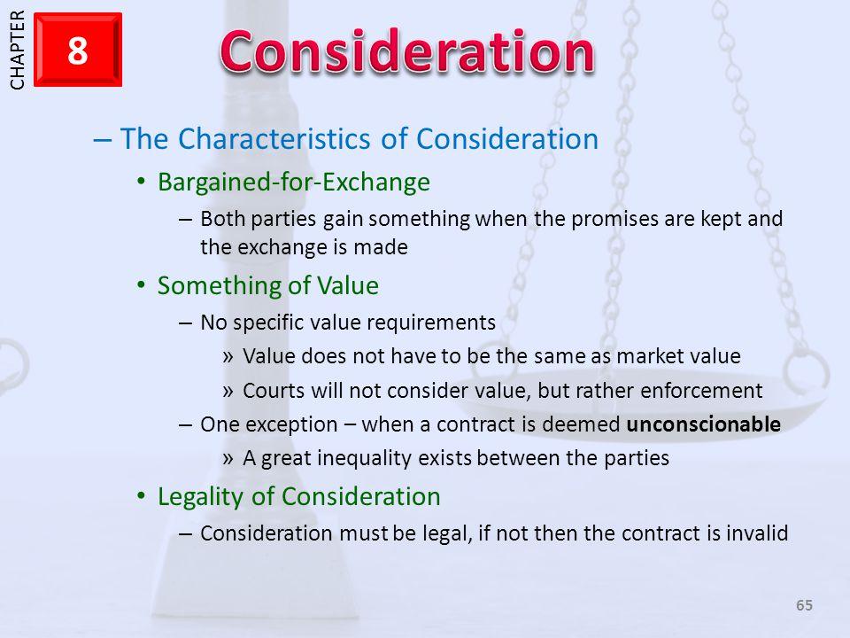 The Characteristics of Consideration