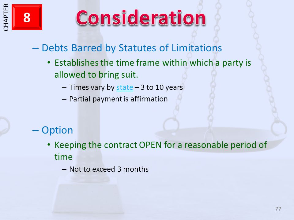Debts Barred by Statutes of Limitations