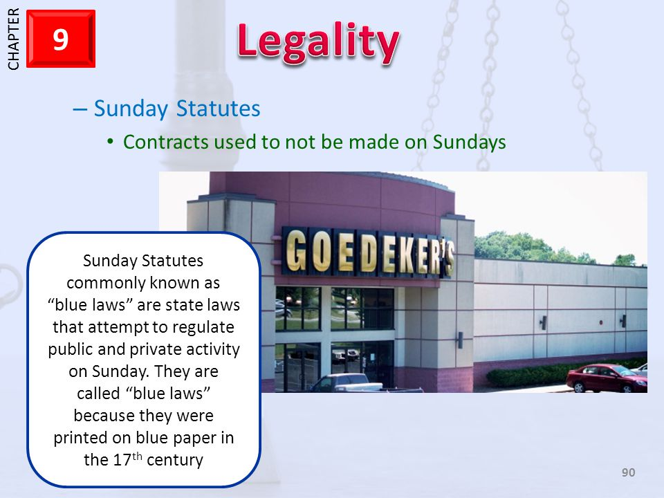 Sunday Statutes Contracts used to not be made on Sundays