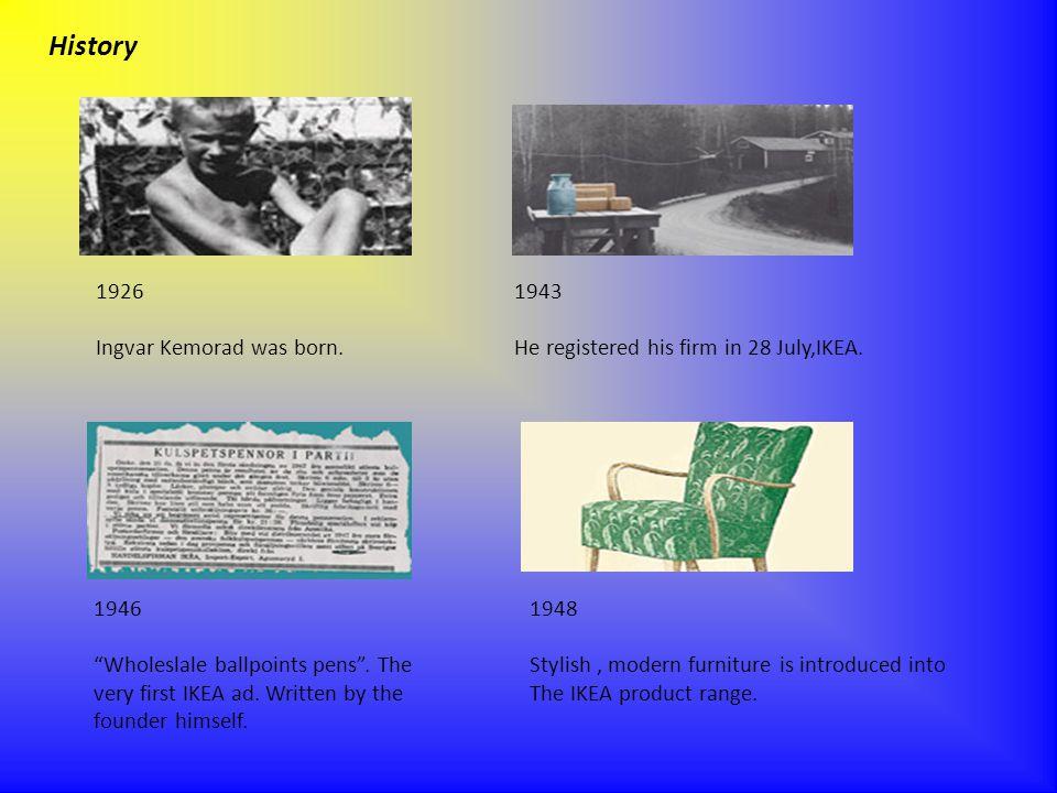 History 1926 Ingvar Kemorad was born. 1943