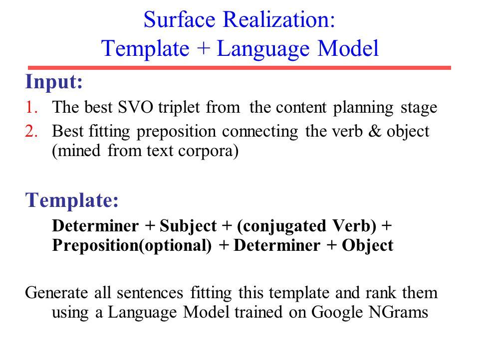 Surface Realization: Template + Language Model