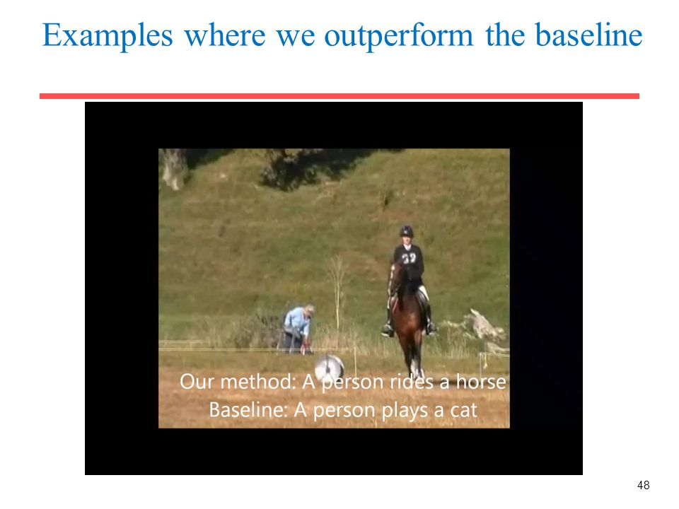Examples where we outperform the baseline