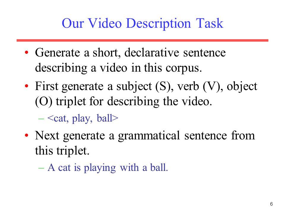 Our Video Description Task