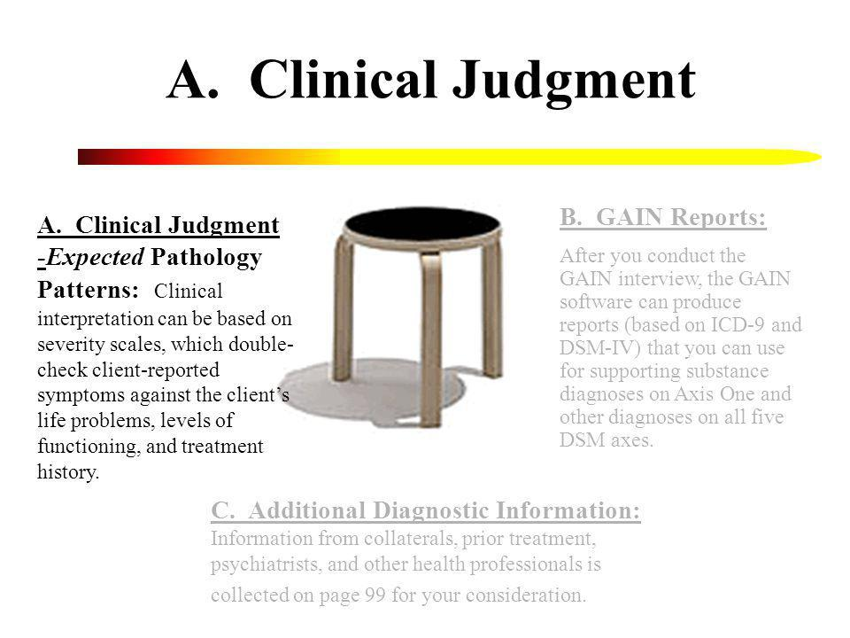 A. Clinical Judgment B. GAIN Reports: