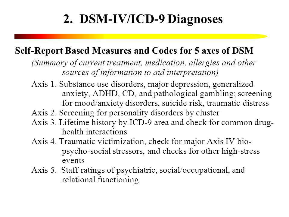 2. DSM-IV/ICD-9 Diagnoses