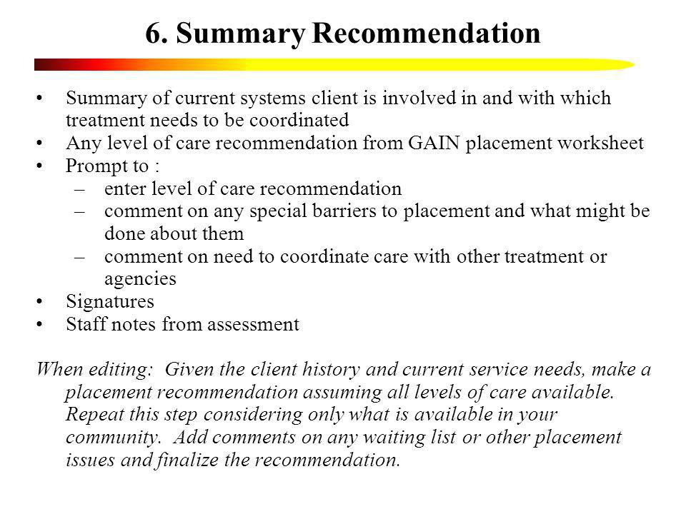 6. Summary Recommendation