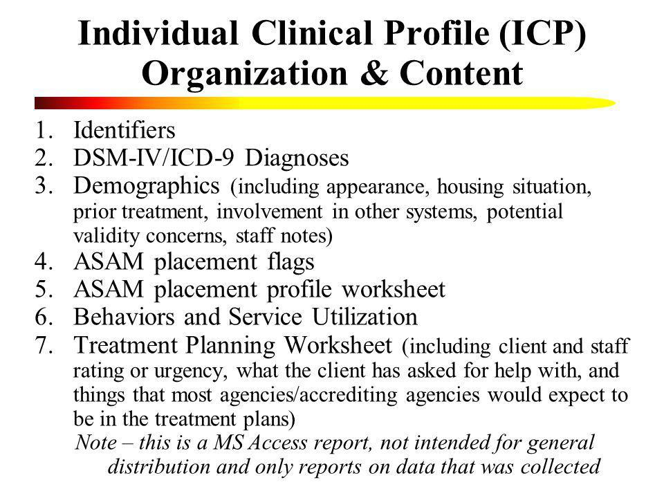 Individual Clinical Profile (ICP) Organization & Content