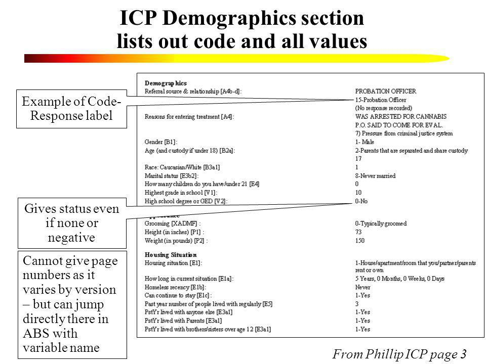 ICP Demographics section lists out code and all values