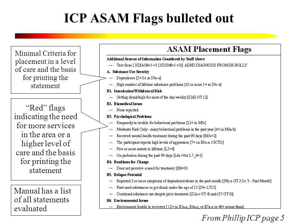 ICP ASAM Flags bulleted out