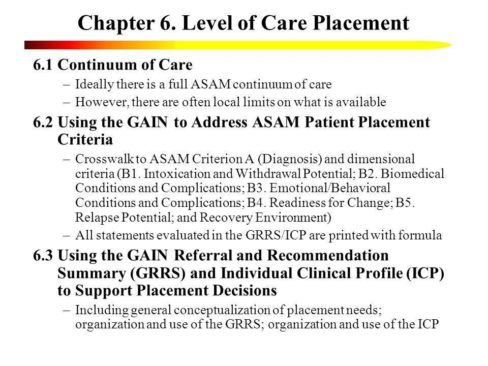 Chapter 6. Level of Care Placement