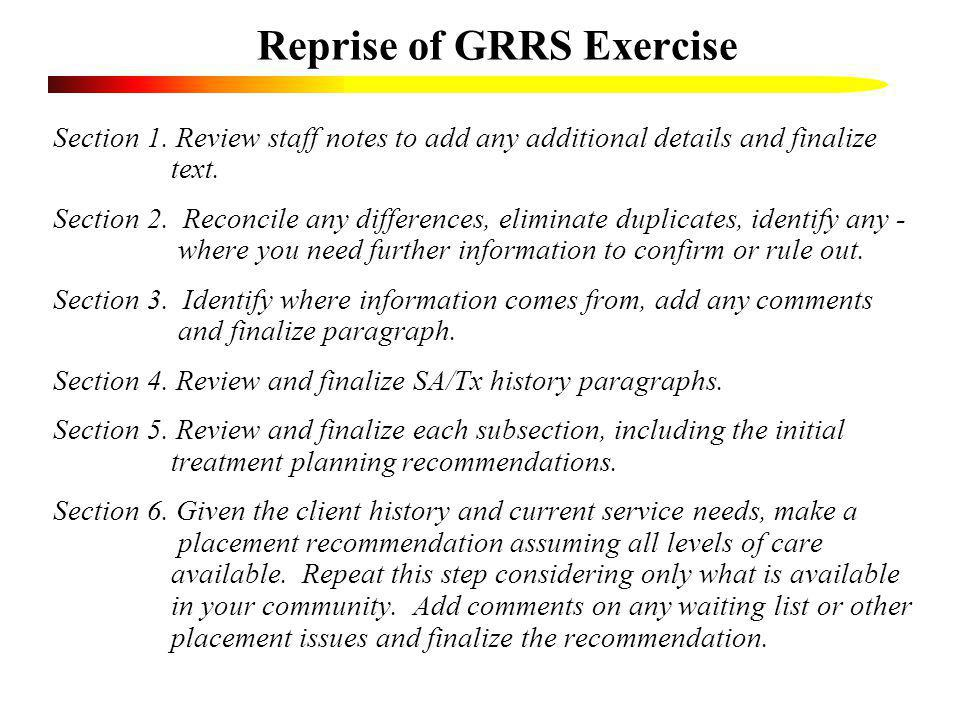 Reprise of GRRS Exercise