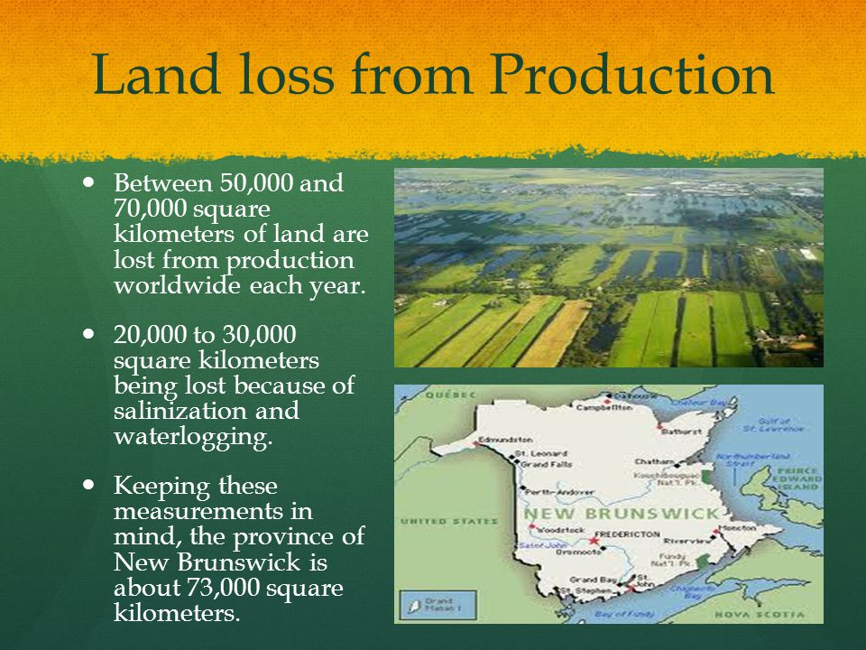 Land loss from Production