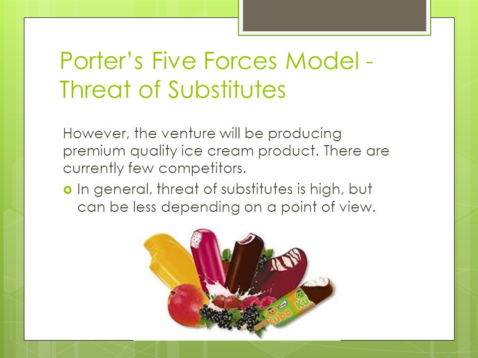 Porter's Five Forces Model - Threat of Substitutes