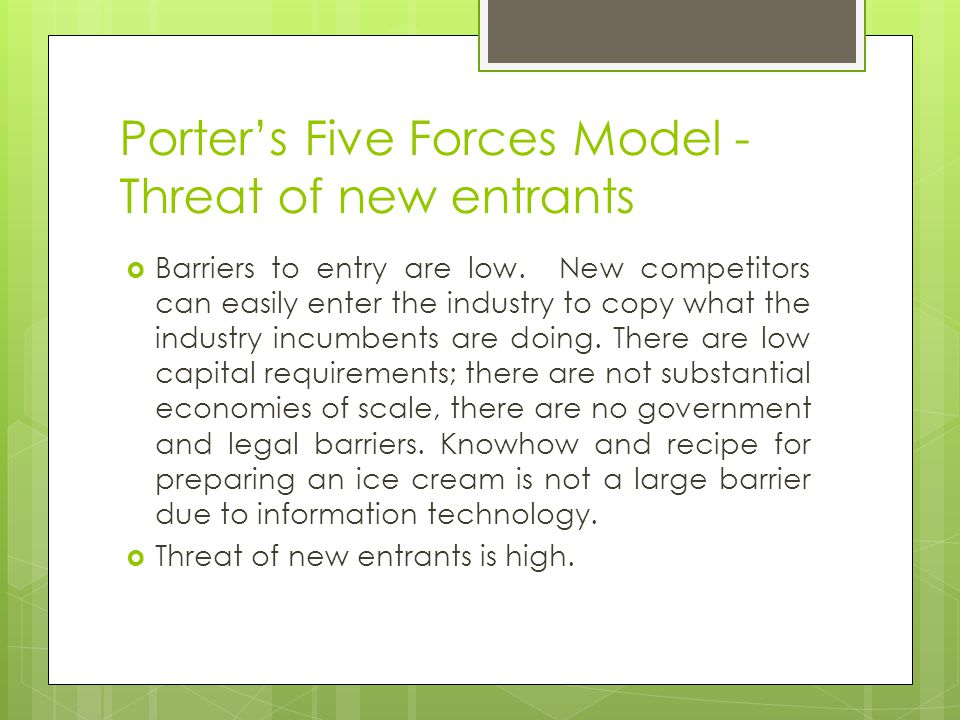 Porter's Five Forces Model - Threat of new entrants