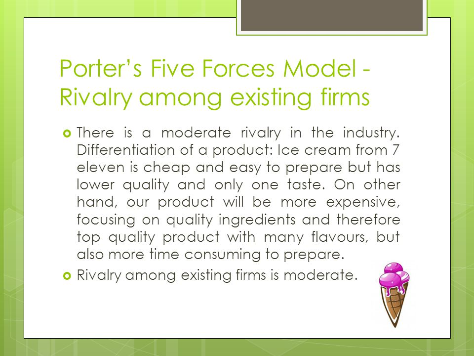 Porter's Five Forces Model - Rivalry among existing firms