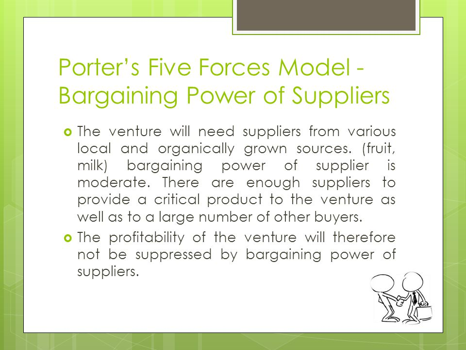 bargaining power of supplier 2 essay The suppliers can find new customers, but the companies are reluctant as entry  into this sector is risky 2 buyers' bargaining power according to porter's five.