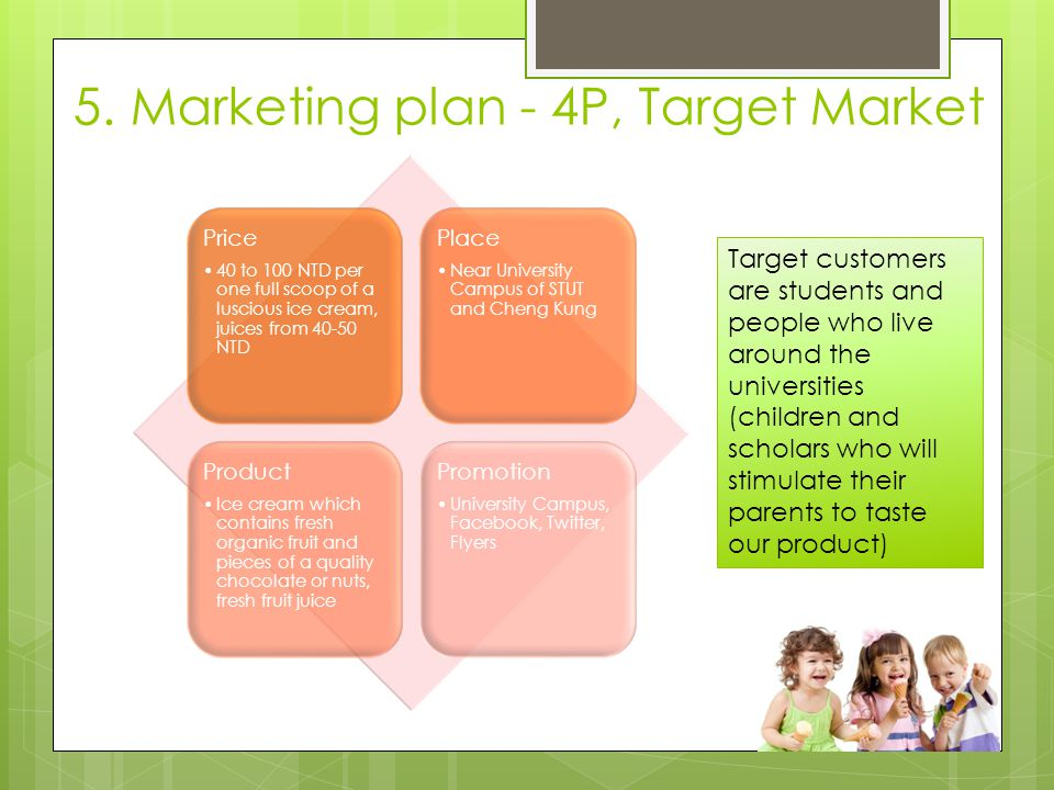 5. Marketing plan - 4P, Target Market