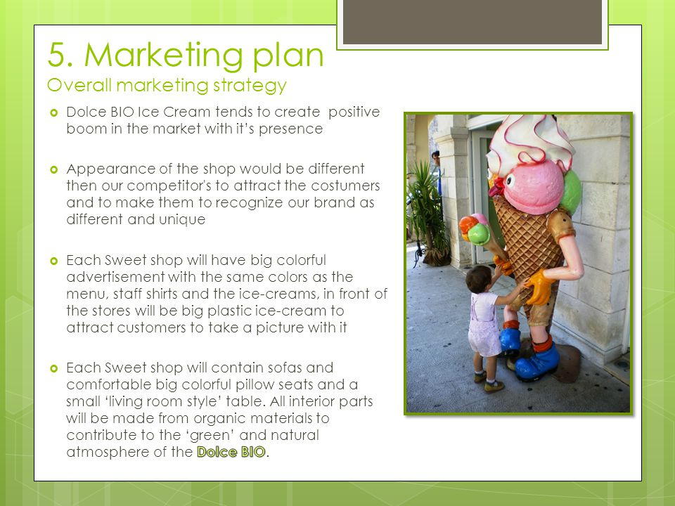 5. Marketing plan Overall marketing strategy