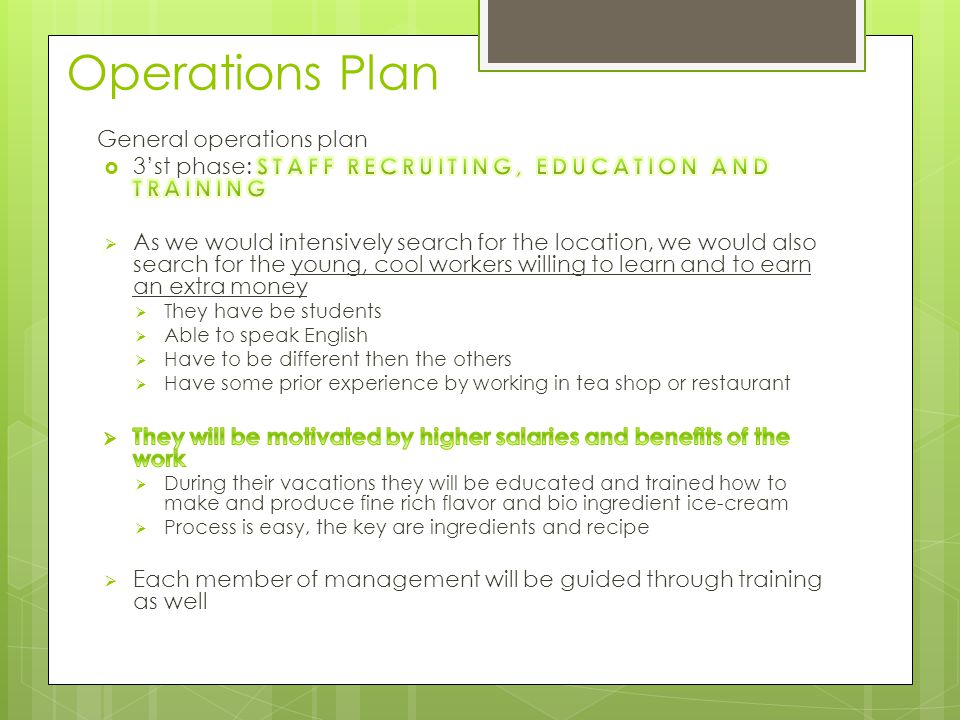 Operations Plan General operations plan