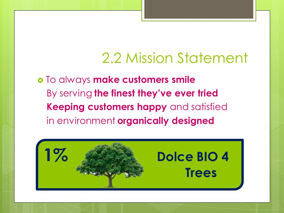 1% Dolce BIO 4 Trees 2.2 Mission Statement