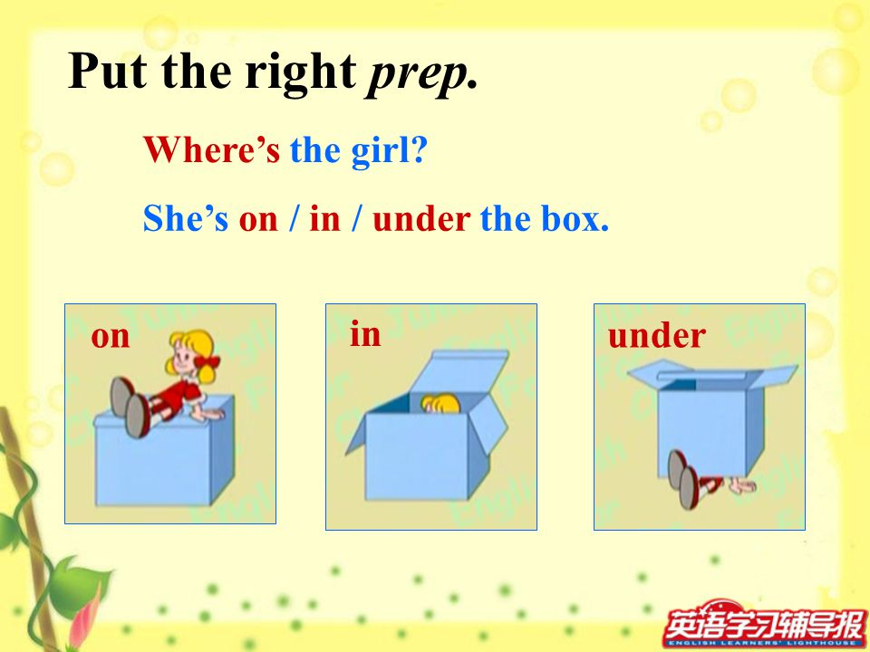 Put the right prep. Where's the girl She's on / in / under the box.