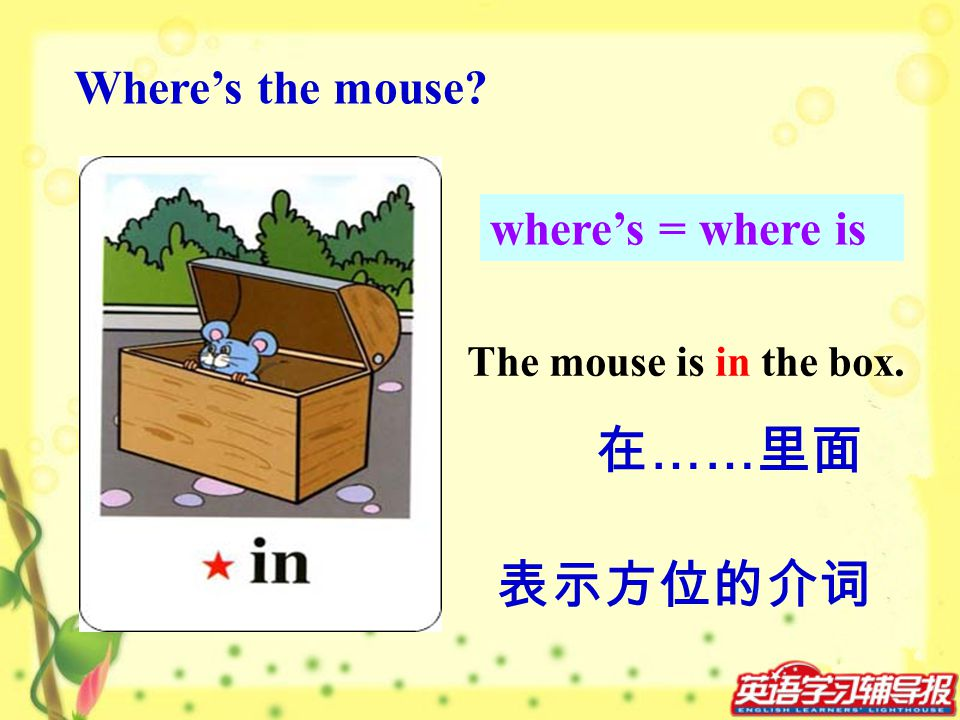 在……里面 表示方位的介词 Where's the mouse where's = where is