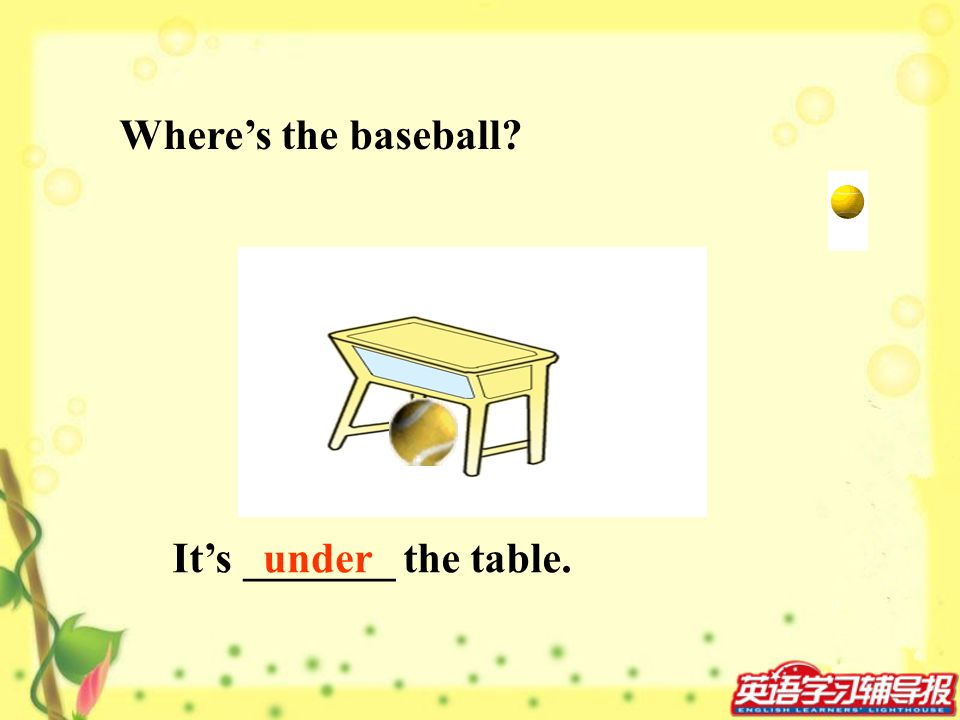 Where's the baseball It's _______ the table. under