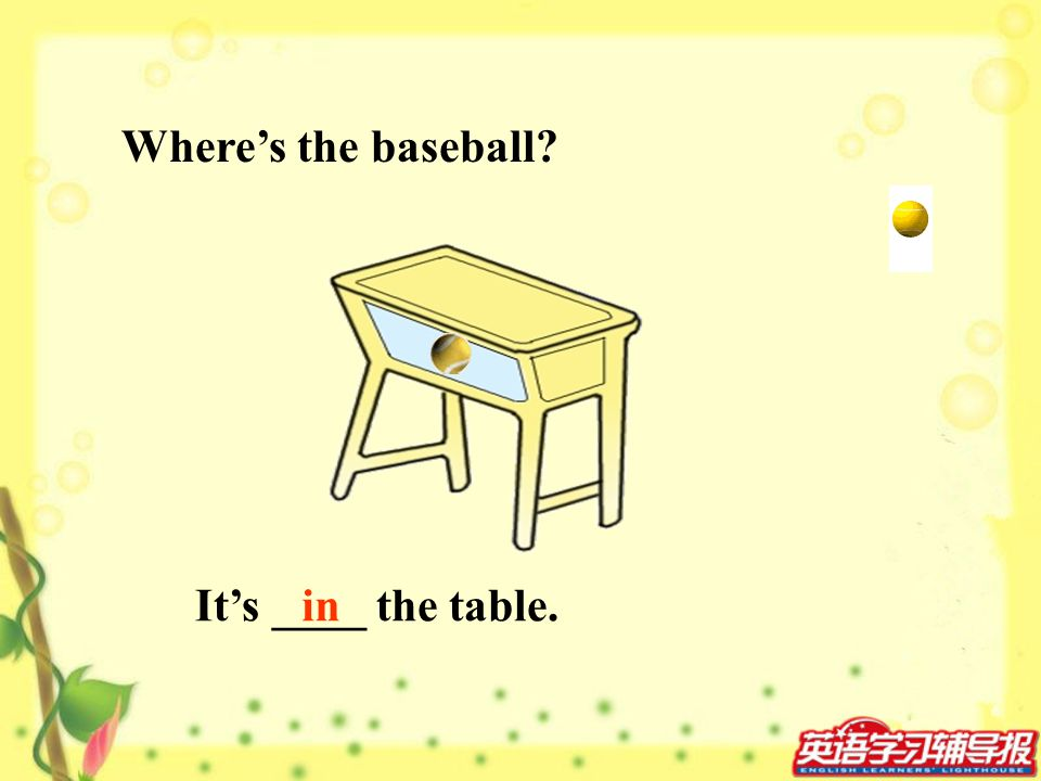 Where's the baseball It's ____ the table. in