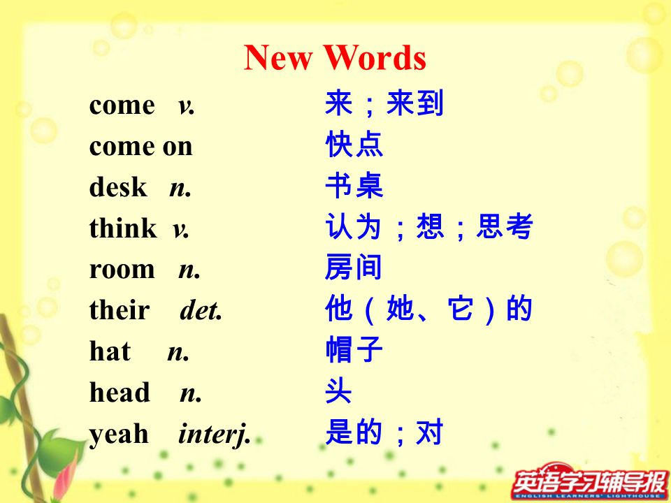 New Words come v. come on desk n. think v. room n. their det. hat n.