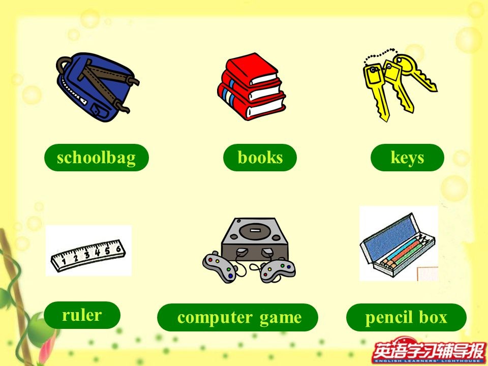 schoolbag books keys ruler computer game pencil box
