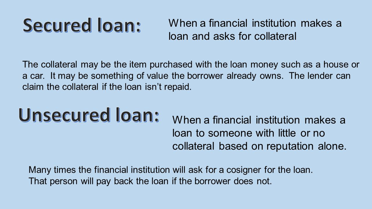 Secured loan: Unsecured loan:
