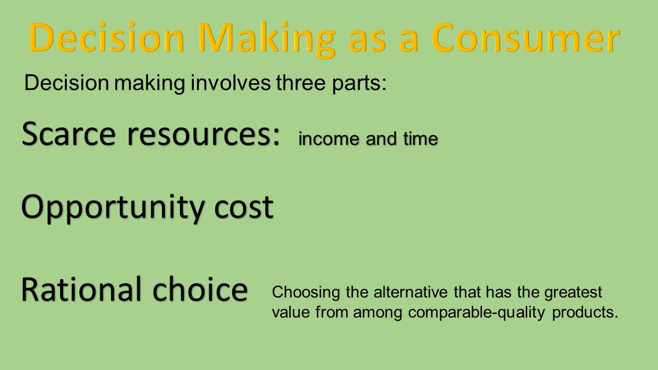 Decision Making as a Consumer