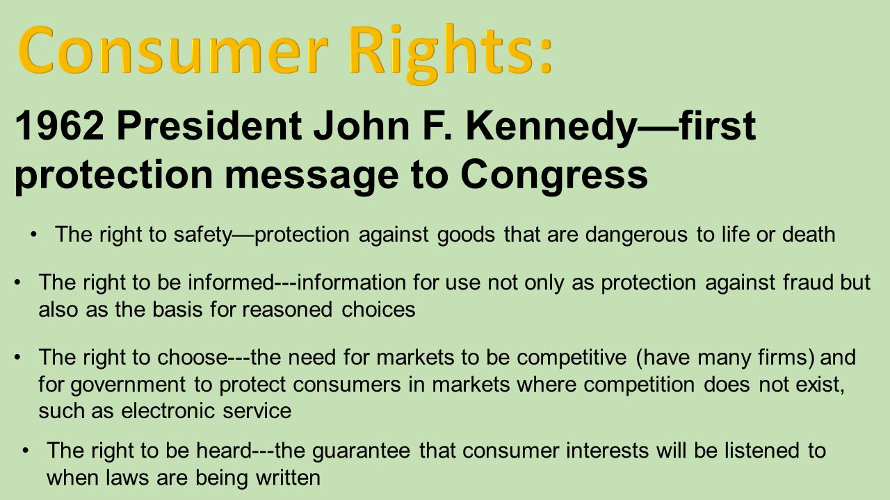 Consumer Rights: 1962 President John F. Kennedy—first protection message to Congress.