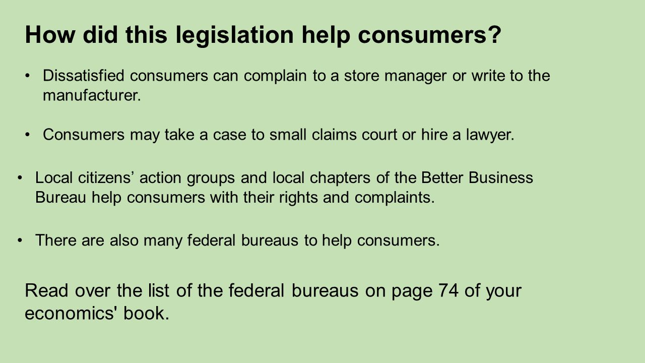 How did this legislation help consumers