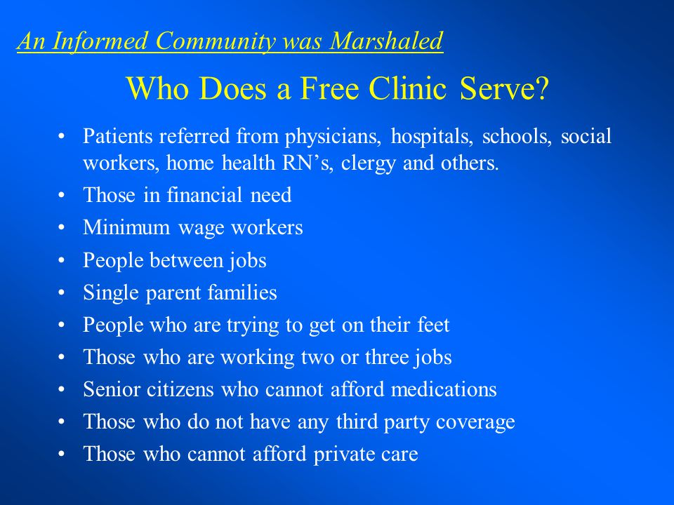 Who Does a Free Clinic Serve