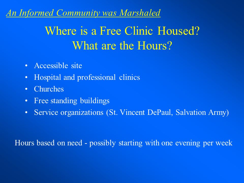 Where is a Free Clinic Housed What are the Hours