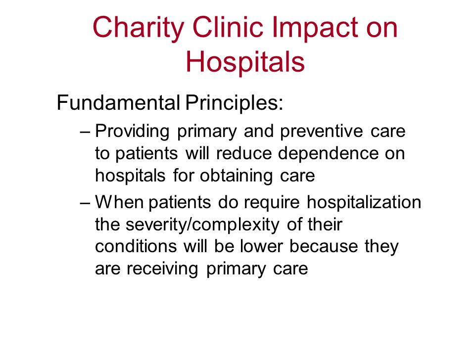 Charity Clinic Impact on Hospitals