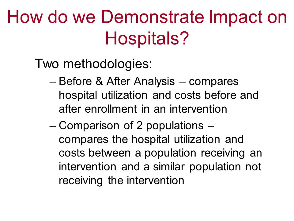 How do we Demonstrate Impact on Hospitals