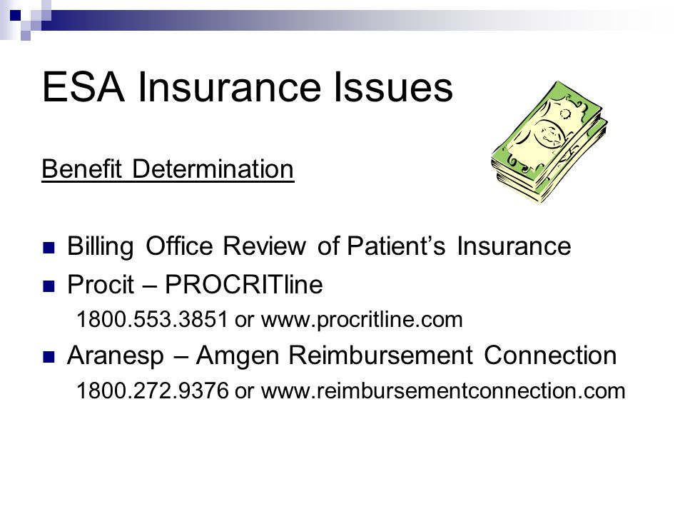 ESA Insurance Issues Benefit Determination