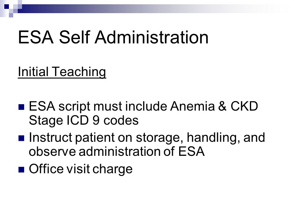 ESA Self Administration