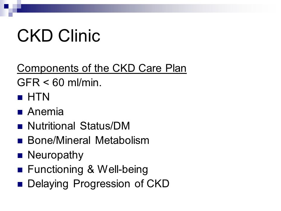 CKD Clinic Components of the CKD Care Plan GFR < 60 ml/min. HTN