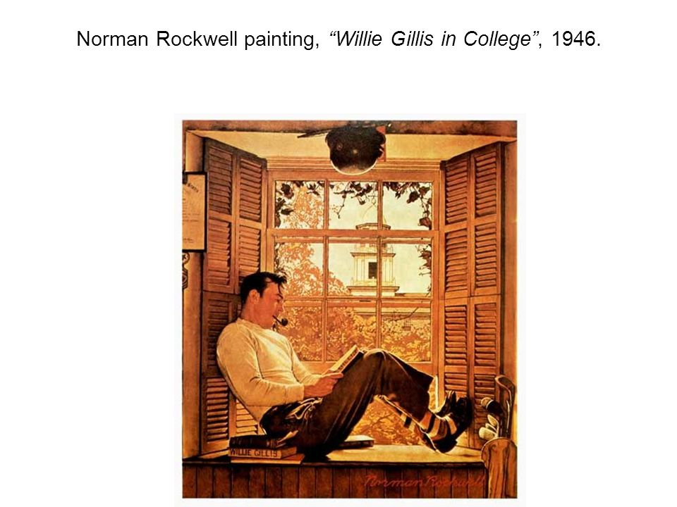 Norman Rockwell painting, Willie Gillis in College , 1946.