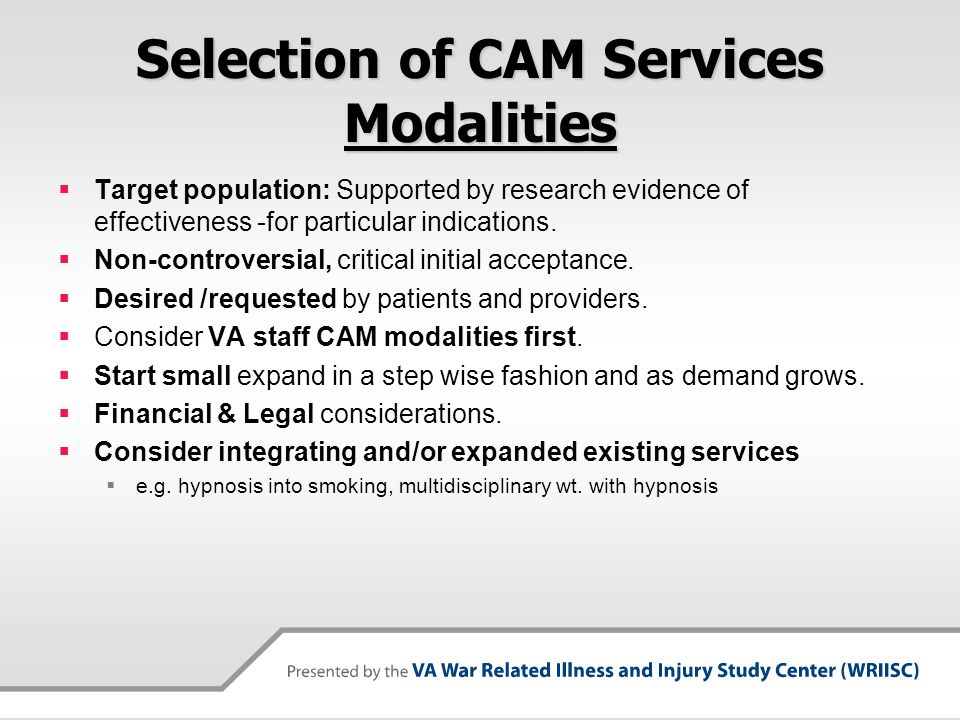 Selection of CAM Services Modalities