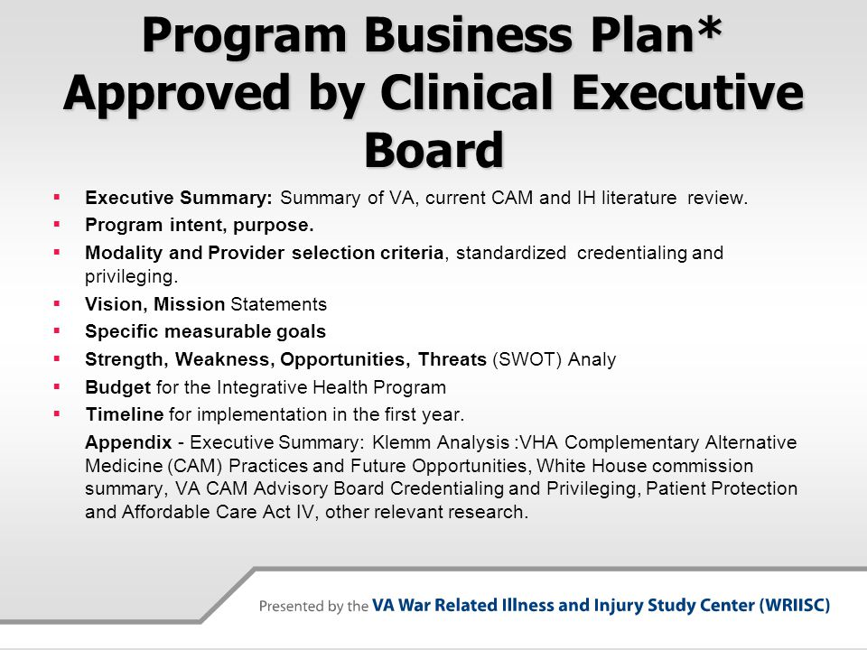 Program Business Plan* Approved by Clinical Executive Board