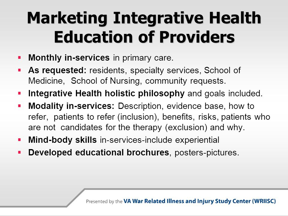 Marketing Integrative Health Education of Providers
