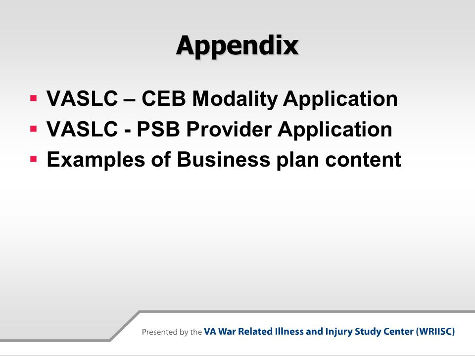 Appendix VASLC – CEB Modality Application