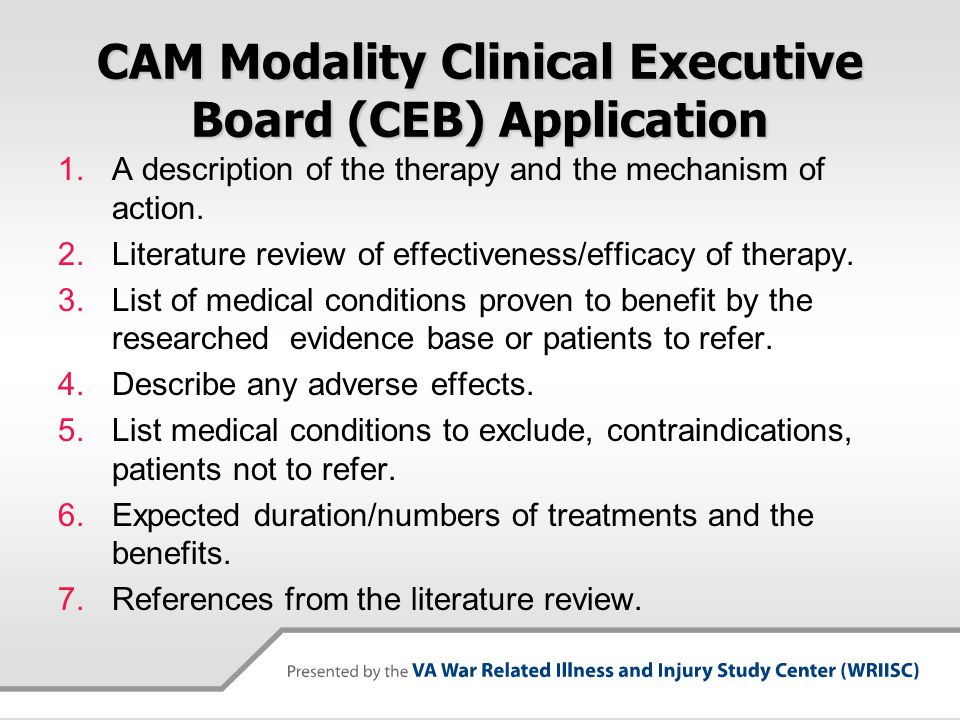 CAM Modality Clinical Executive Board (CEB) Application