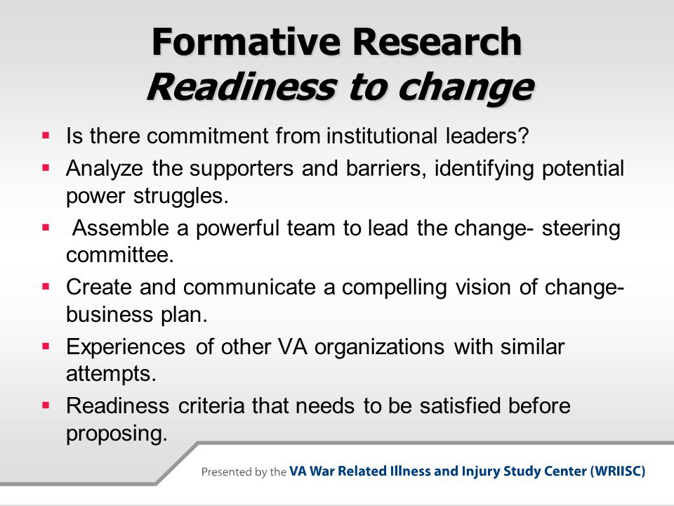 Formative Research Readiness to change