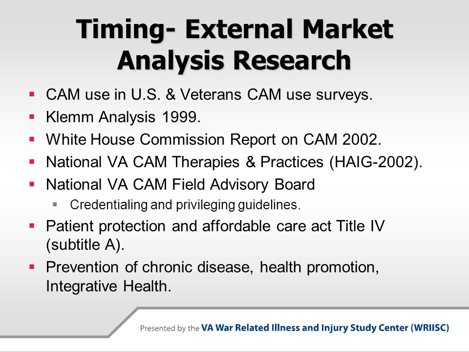 Timing- External Market Analysis Research